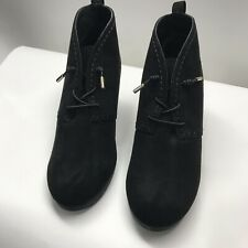 Sugar Women's Sz 9 M  Embroidered Shoe Suede Like Material Black Wedge