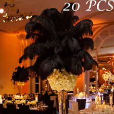 "New 20PCS Lots 4""-6"" Natural Ostrich Feathers Home Wedding Party Decor Black"