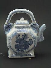 Vintage Porcelain Blue & White Teapot Sake Pot, Asian Oriental Octagon Shape, A5