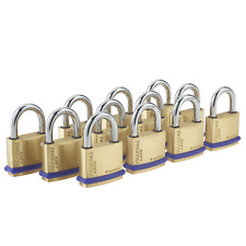 12x Brass Padlock SAME KEY OPENS ALL 12 Solid Thick Strong Federal 40mm Security