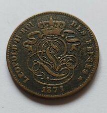 2 centimes  belge 1871 Leopold II ttb. Tirage inconnu !!! Rare !!!
