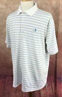 Peter Millar Summer Comfort Golf Polo VNGC Logo White Blue Stripe Shirt Men's XL