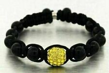 Beaded Ball Bracelet with Crystal Yellow CZ Center Mens Ladies Adjustable Shine