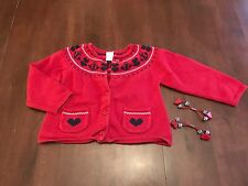 Gymboree BON VOYAGE red navy nautical heart anchor sweater cardigan + hair 3 3T