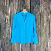 express portofino Shirt XS Women's Long Sleeve Button Down Blue Solid Spring