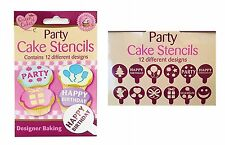 12 Party CAKE STENCILS Decorating Cakes Cupcakes Toppers Baking Icing