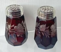 """Vtg Pair of Crystal Glass Salt Pepper Shakers Ruby Red Etched Flowers 3"""""""