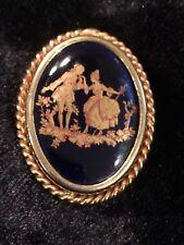 Barrel Pin Blue Antique Limoge Brooch