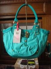 """NWT~ GEORGE GINA & LUCY """"TWO PUPPI"""" GREEN NYLON CANVAS SATCHEL SHOULDER STRAP"""