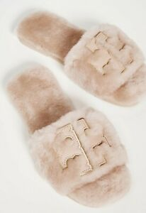 NEW $238 TORY BURCH Shearling FUR Double T-Logo Sport Slides Flat SHOES SANDALS