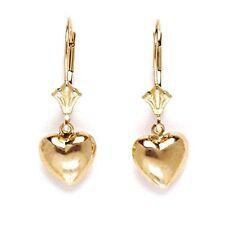 14K Solid Yellow Gold Dangle Heart Earrings ER-L74