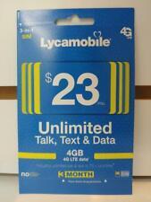 LYCAMOBILE Preloaded Sim Card $23x3 Month Plan Prepaid Talk Text 4GB Data 4G/LTE