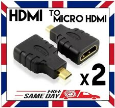 2x HDMI FEMALE to MICRO HDMI TYPE D MALE ADAPTER CONVERTER for GOPRO PC TV Etc.