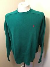Polo Ralph Lauren Classic Knit Sweater Sz L Cotton Red Pony Logo Green Crewneck