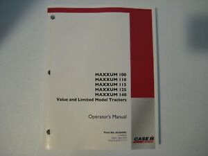 New Case IH Maxxum 100,110,115,125,140 Tractors Operator's Manual 84264981