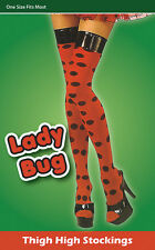Lady Bug Thigh High Stockings Ladies Red with Black Spots Fancy Dress Accessory