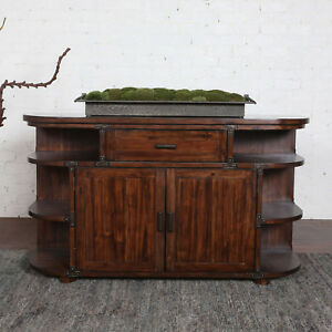 """60"""" w Natalie Sideboard hand stained medium brown distressed metal accents nice"""