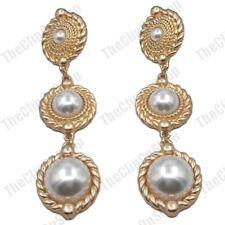 "CLIP ON 3.5""long RETRO pearl EARRINGS vintage style MATT GOLD FASHION big clips"