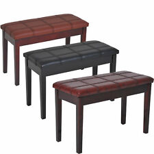More details for two person lift top piano storage bench faux leather keyboard stool birchwood