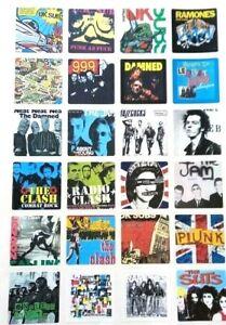 24 SQUARE PUNK STICKERS Set1 Subs, Ramones, 999, Jam, Clash, Pistols, Damned etc