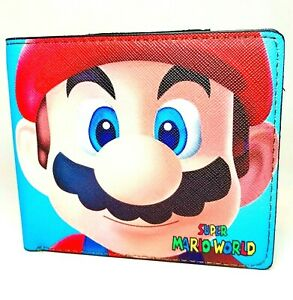Super Mario Face Print Design Bi-Fold Wallet High Density Canvas. Blue Color