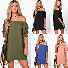 WOMENS SUMMER OFF THE SHOULDER BARDOT BUTTON EVENING SHIRT DRESS TOP