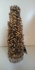 4 x MINI RATTAN CHRISTMAS TREES 18cm gold glitter beads ORNAMENT decoration NEW