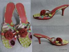 ENZO ANGIOLINI Flexo Size 10M Floral Satin/Leather Strappy slip-in heels sandals