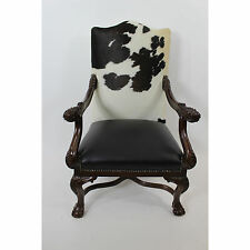 Executive Cowhide Chippendale Chair Black And White