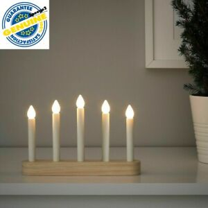 Ikea Strala LED 5 Armed candlestick light Candelabra W/ Timer Battery Operated