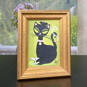 El Gato Gomez Painting Retro Black Cat 1950s Smoking Beatnik Mid-Century Cool