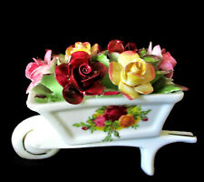 """ROYAL ALBERT   """"Old Country Roses""""   Wheelbarrow with Applied Flowers"""