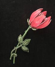 Vintage Weiss Flower Brooch Pin Pink Enamel