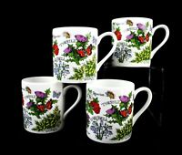 PAT ALBECK Set of 4 Bone China Coffee Mug Scotland National Trust Wildflowers
