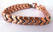 8.5 IN COPPER MAGNETIC BRACELET HEART  DESIGN WITH MAGNET IN EVERY LINK  MBC136