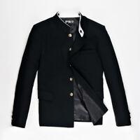 Men Single Breasted Mandarin Collar Jacket Blazer School Uniform Coat Tunic Tops