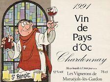 SERON ST BENOIT étiquette de vin du Pays d'Oc pour 1 Chardonnay 91 dessin de 92