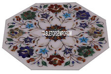 "18"" White Marble Side Coffee Table Top Gemstone Multi Floral Inlay Bedroom Decor"