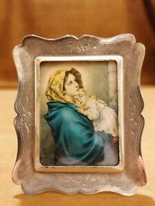 Piccola cornice in argento 925 con Madonna e Bambino anni 60
