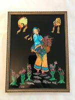 Rare Antique Folk Art Tinsel Foil Painting - Asian Theme- Signed GIEN - Lovely!