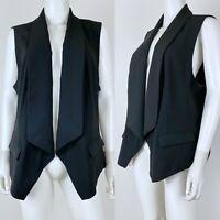 Chicos Size 3 Vest Blazer Draped Front Shawl Collar Sleeveless Jacket Black