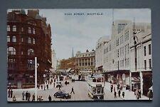 R&L Postcard: Sheffield High Street, Cars Trams Shops, Valentine's