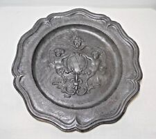 ANTIQUE FRENCH REPOUSSE PEWTER COAT OF ARMS CHARGER, BEAUME, FRANCE w/ HALLMARK