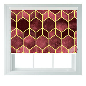 Bold Geo Yellow Gold Modern Printed Photo Black Out Roller Blinds 23456ft
