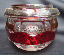 Antique EAPG Pattern Glass Ruby Stain Covered Pin or Powder  Dish