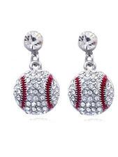 Small Baseball Sport Dot Dangle Clear Crystal Pave Charm Post Earrings