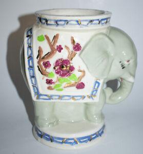"Elephant Pillar Candle Holder 6.75"" Ceramic Gray Floral"