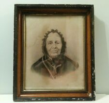 Antique Vintage 1800's Picture Frame Original Solid  Wood Woman Portrait Large