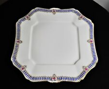 ANTIQUE C AHRENFELDT LIMOGES PINK WHITE BLUE ROSES GOLD GILT  SQUARE CAKE PLATE
