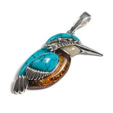 Henryka Large AMBRA & Turchese Kingfisher Bird pendente con catena d'argento